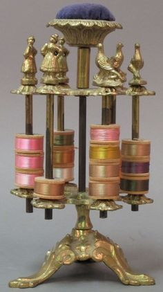Vintage Spool Holder with pin cushion on top