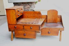 Antique Primitive Cobbler/Saddle Makers Bench with Multi Compartment Drawers