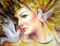 yellow - woman with birds - face - painting - Carlos Queiroz Princess Zelda, Disney Princess, Artist At Work, Art Google, Belle Photo, Watercolor Paintings, Oil Paintings, Watercolour, Surrealism