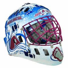 NHL Colorado Avalanche SX Comp GFM 100 Goalie Face Mask by Franklin. $39.56. Show your team spirit with the Franklin Colorado Avalanche NHL Team Goalie Mask Emblazoned with officially licensed team logos and colors and featuring High impact ABS Plastic with antimicrobial technology. Anatomically designed for safety and comfort with adjustable quick-snap straps to ensure proper fit. Sized for kids ages 5-9 and only for street hockey use. Not intended for ice hoc...