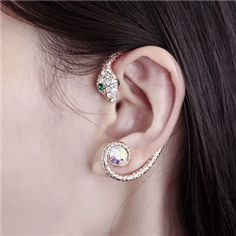 Exotic Snake Design Diamante Ear Cuff Earrings for Women from EricDresses on less price. Use coupon and promotional codes.