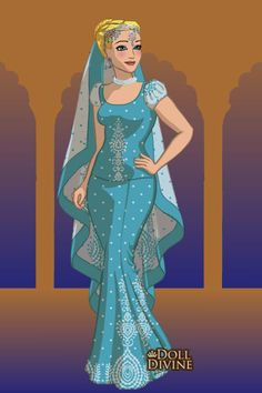 It was actually my 6 year old sister's idea for me to make the Disney Princesses wearing Saris from the game on dolldivine 'Sari Maker'. Here's Cinderella from (what else? Disney Fan Art, Disney Style, Disney Love, Animated Man, Disney Animated Films, Cinderella Art, Alternative Disney Princesses, Sari Design, Doll Divine