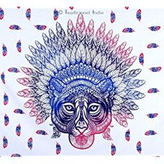 Hippie Hippy Tribal African Tiger Tapestry Mandala Bedspread Twin Tapestries by Traditional india