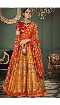 Golden Banarasi Silk Lehenga With Art Silk Choli - DMV11919
