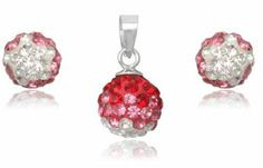 Sterling Silver MIX Pink Crystal Ball Pendant Earrings SET Choose Design   eBay