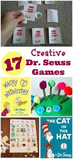 Seuss and Cat in the Hat printable games -- BINGO, Wacky Wednesday, literacy activities. Fun literacy activities and perfect for Dr. Suess Week and Read Across America celebrations in preschool, kindergarten and elementary classrooms! Dr Suess Games, Dr Seuss Activities, Classroom Games, Kindergarten Activities, Activities For Kids, Cat Games For Kids, Sequencing Activities, Language Activities, Reading Activities