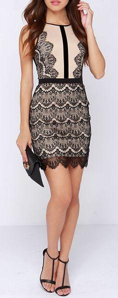 http://www.pinterest.com/myfashionintere/ Beige + Black Lace Dress
