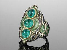 Art Nouveau Plique à Jour Enamel and Emerald Ring, circa 1900
