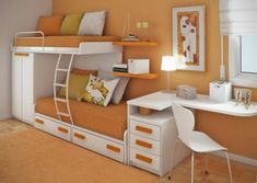 Awesome space-saving bedroom! Maybe for the girls room??