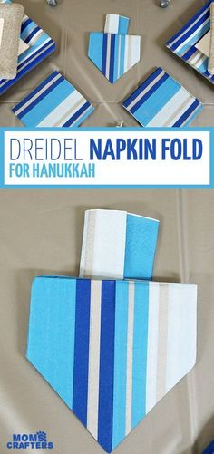 Try this easy dreidel napkin fold! – Stacye Fogel Try this easy dreidel napkin fold! I love this dreidel napkin fold tutorial – what a great idea for a Hanukkah tablescape? I love this decoration for a chanukah party – I set my table like this too. Hanukkah Crafts, Jewish Crafts, Hanukkah Food, Feliz Hanukkah, Hanukkah Decorations, Christmas Hanukkah, Happy Hanukkah, Hannukah, Hanukkah 2019