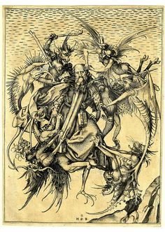 The Tribulations of St. Antony - The saint is in mid-air, tormented by eight devils. Engraving made by Martin Schongauer, Germany, 1469 - 1473.