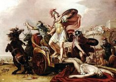 Achilles dragging the body of Hector around the walls of Troy. 18th.century…