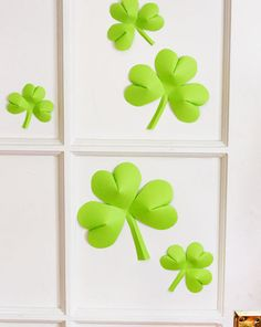 Click Pic for 24 St Patricks Day Decor Ideas |  Wall of 3D Paper Shamrocks | St Patricks Day Ideas