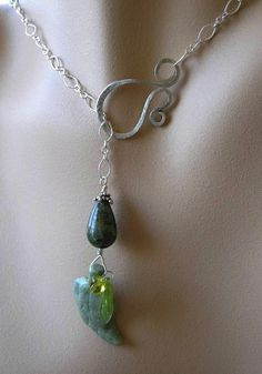 Green leaf Lariat necklace Rhyolite Agate Sterling Silver crystal forged clasp Camp Sundance