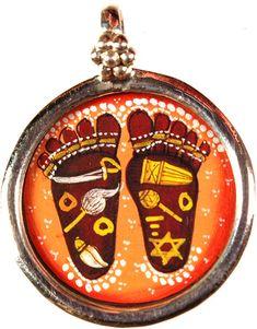 Symbols on Krishna lotus feet. pretty ethnic Indian style drawing.