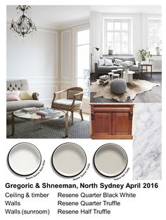 Gregoric & Schneeman colour scheme 2016: Light taupe/grey (Resene Quarter Truffle) in kitchen, sitting and dining rooms to give the illusion of space and light plus white (Resene Quarter Black White) ceiling and timber detailing to reflect light back into rooms. Fractionally deeper tone (Resene Half Truffle) in the sunroom to anchor the colour scheme. Accent hues added via furnishings. Mood board, Zena O'Connor Interior Wall Colors, Room Interior Design, Interior Walls, Resene Colours, House Color Palettes, Victorian Terrace House, White Ceiling, White Rooms, White Decor