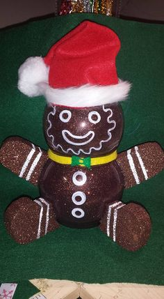 You can't eat this cute Ginger Bread Man. Christmas Gingerbread Men, Christmas Snowman, Winter Christmas, Christmas Ornaments, Fish Bowl Decorations, Christmas Table Decorations, Christmas Makes, Christmas Stuff, Christmas Ideas