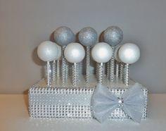 grey-tulle-bow-silver-rhinestone-bling-cake-pop-st-0.jpg (1500×1187). Cake pop stand bling
