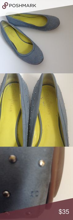 Cole Haan 9.5 Blue Studded Flats Blue flats, yellow on the inside. Scuffing on inside as shown in picture, one stud is missing on the bottom back of one of the flats. Not noticeable unless looking hard for it! Cole Haan Shoes Flats & Loafers