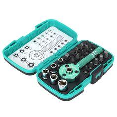 "#TomTop - #Pro'sKit Pro'sKit SD-2319M 22pcs Multi-functional Palm Ratchet Wrench Bit 1/4"" Driver Socket Set Screwdriver Kit Repair Tool - AdoreWe.com"