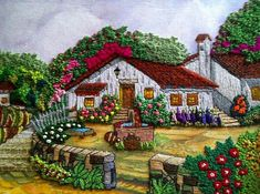 By Celina Gres. Via Inspirations Magazine. Embroidery Needles, Silk Ribbon Embroidery, Crewel Embroidery, Embroidery Patterns, Bordados E Cia, Cross Stitch Landscape, Cottage Art, House Quilts, Thread Painting