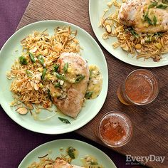 Spring Onion Chicken Breasts & Rice Pilaf with Almonds