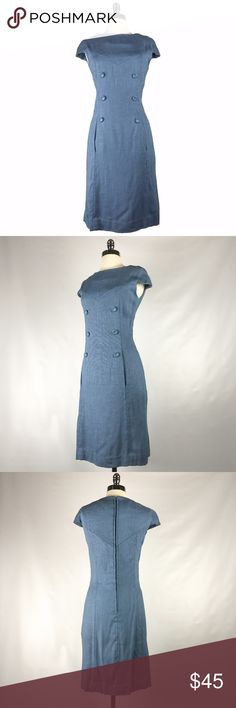 "Vintage 60s Blue Mod Button Sheath Dress S M 1960s vintage powder linen weave blue sheath dress with capped sleeves, button front detail and hidden pockets. No label. Lined in a very lightweight cotton sateen.  Bust: 36"" Waist: 30"" Hips: 36"" Length: 39""  Good vintage condition. There are no holes, damages or stains, however there is a fair amount of pilling on the dress. Perfectly wearable as is, but could use a pill remover in areas. Price reflects condition. Vintage Dresses Midi"