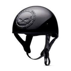 Harley Davidson Mens Embossed Skull Gloss Black Half Helmet 98301 10VM Sz Medium | eBay