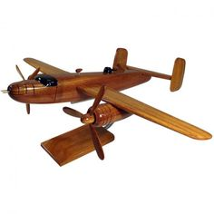 Boeing 25 Mitchell Natural Mohogany Wood Model B-25 airplane