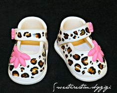 3D Edible Cheetah Print Baby Shoes Booties by SweetcreationsbyGigi, $11.95