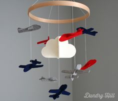 Red, Navy & Grey Airplane Nursery Mobile - Dundry Hill LLC