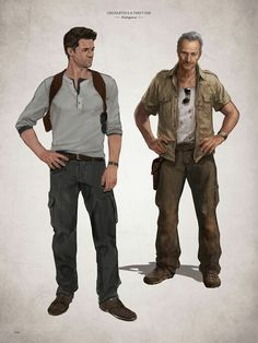 Art of Uncharted 4 - Drake and Sully artwork.