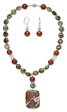 Single-Strand Necklace and Earring Set with Sierra Agate Gemstone Focal and Labradorite and Red Jasper Gemstone Beads
