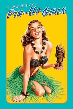 Hawaiian Pin-Up Girl art by Garry Palm Vintage Surf, Vintage Hawaii, Vintage Box, Tiki Art, Tiki Tiki, Tiki Totem, Hawaii Pictures, Hawaiian Art, Polynesian Culture