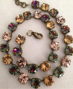 Swarovski crystal necklace fall multi color volcano by MISWINGS Swarovski Crystal Necklace, Swarovski Jewelry, Crystal Jewelry, Swarovski Crystals, Jewelry Necklaces, Jewellery, Bracelets, Jewelry Box, I Love Jewelry