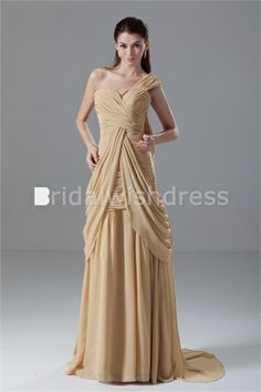 Draped Sleeveless Formal Evening Brush/ Sweep Train Special Occasion Dresses