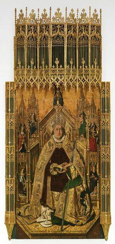 """""""Santo Domingo de Silos"""", 1474-1477, Bartolomé Bermejo. — en Museo Nacional del Prado.Considerada como una obra maestra de la pintura española del siglo XV, la ejecución del """"Santo Domingo de Silos"""" costó a su autor, Bartolomé Bermejo, incluso la excomunión. Si bien contrata la finalización de la obra en 1477, el pintor solamente entrega la tabla central, motivo por el que recibe sentencia de excomunión; no obstante Bermejo se compromete a culminar el banco, las calles laterales y el ático…"""
