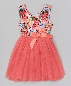 Another great find on #zulily! Designer Kidz Coral Floral Tutu Dress - Infant, Toddler & Girls by Designer Kidz #zulilyfinds