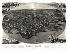 Antique Map of Larchmont New York Poster 1904 Westchester County