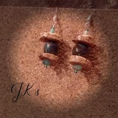 Handmade earrings with cork and handmade beads
