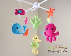 Baby Crib Mobile - Baby Mobile - Nursery Crib Mobile - Ocean Mobile Under the Sea Creatures (You can Pick your colors) via Etsy