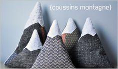 Coussins Montagne / réaliser avec des tissus en laine,tweed,  recyclage de costume.....