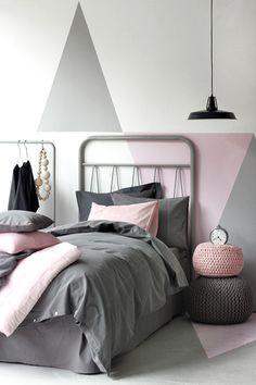 Cinza+ rosa+ triângulos!