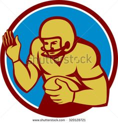 Illustration of an american football gridiron quarterback qb player holding ball fending off defend set inside circle on isolated background done in retro style.  - stock vector #Americanfootball #retro #illustration