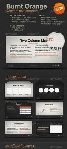 Burnt Orange Presentation  #GraphicRiver        Burnt Orange Keynote Template The Burnt Orange Keynote Template includes detailed graphic elements and transitions and builds. The presentation template is easy to modify in Keynote with text placeholders, and drag and drop image and video files into masked placeholders. This template comes with a whopping 7 custom graph types. Very easy to create your own presentation in minutes and don't worry about downloading and installing fonts. The Burnt…