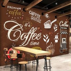 Coffee Shop Restaurant European Style Retro Mural Wallpaper