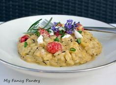 Raspberry Risotto with Herbes de Provence and Chevre
