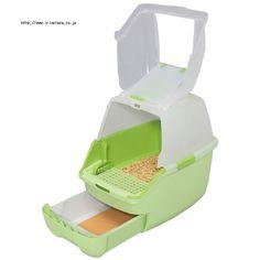 楽ちん猫トイレ フード付きセット RCT-530F グリーン・オレンジ【トイレ本体+専用パインサンド2kg+専用トレー1枚】
