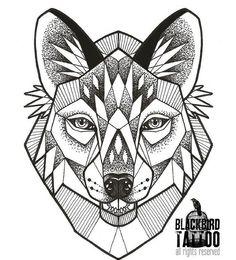 """""""#geometric #wolf #tattoo #tattoodesign #dotwork #blackbirdtattoo"""""""