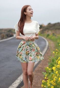 Casual Dazzle Lotus Leaf Waist Shaping Skirt Blue